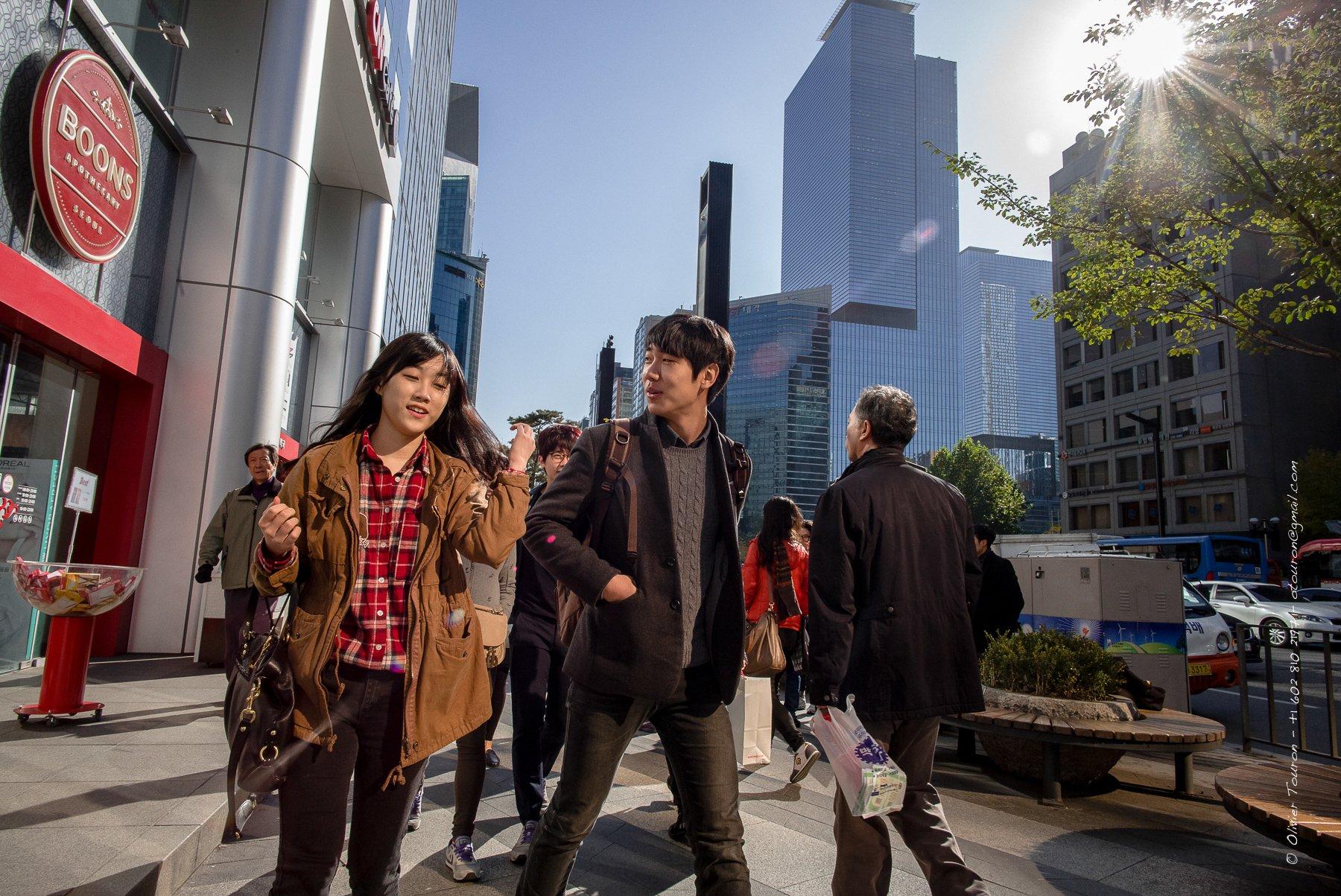 10 novembre 2013. Corée du Sud. Séoul. Quartier branché, chic et riche de Gangnam sur la rive sud de la rivière hangang. // © Olivier Touron / Divergence